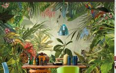 """Get Wild From our National Geographic Collection With a surprise behind every leaf, this scenic wall mural lets you enjoy the spectacular view of a tropical rain forest. Watch tigers, parrots and other exotic creatures in their natural habitat, all from a safe distance of course!  PRODUCT FEATURES  12'1"""" x 8'2"""" 4 Panel Mural Paste Not Included Printed on Non Woven Material    Ships to USA & Canada only"""