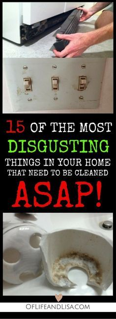 15 disgusting places in your home that you need to clean right away. Check out t… 15 disgusting places in your home that you need to clean right away. Check out this post to learn where and how to find hidden filth. Household Cleaning Tips, Deep Cleaning Tips, Toilet Cleaning, House Cleaning Tips, Natural Cleaning Products, Cleaning Solutions, Spring Cleaning, Cleaning Hacks, Cleaning Items