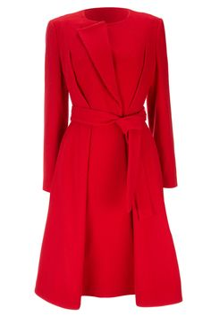 1923 Collection Red Collarless Coat- Willis