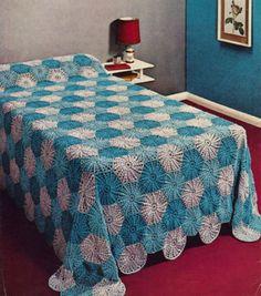Crochet Pattern Motif Throw Bedspread Vintage Retro