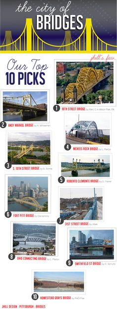 Pittsburgh Bridges- most have their own character and charm and are stunning in some way!