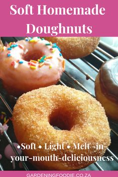 These melt in your mouth soft homemade doughnuts are so delicious perfect and airy. Top with melted chocolate glaze or just cinnamon sugar and watch these little rings of delight disappear off the plate in record time. Ring Doughnut Recipe, Soft Doughnuts Recipe, Easy Donut Recipe, Baked Donuts, Donut Recipes, Baking Recipes, Dessert Recipes, Classic Doughnut Recipe, Ube Recipes
