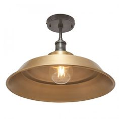Our beautiful 16 inch Brooklyn Vintage Step Metal Flush Mount Light by Industville is an antique retro styled metal lampshade in a brass finish.