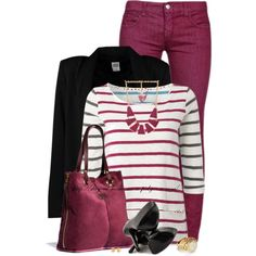 """Colored Jeans & Stripes"" by stay-at-home-mom on Polyvore"