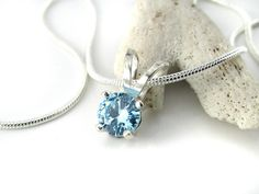 Topaz Blue  Sterling Silver Pendant, 6mm Topaz CZ  Pendant, Sterling Silver 6mm Topaz Blue Pendant Necklace Set, Pendant Necklace, Simple Jewelry, Sterling Silver Pendants, Blue Topaz, Stud Earrings, Gemstones, Studs, Stud Earring