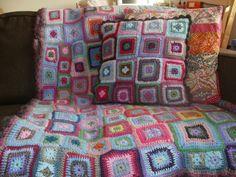 my crocheted babette blanket & cushion