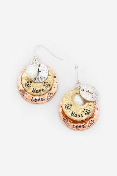 Pretty Engraved Hope Earrings in Trinity - Faith, Hope and Love.