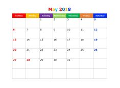 May 2018 Calendar, 2018 Printable Calendar, Excel Calendar, Printable Calendar Template, Holiday Calendar, Printables, Templates, Words, Festival Guide