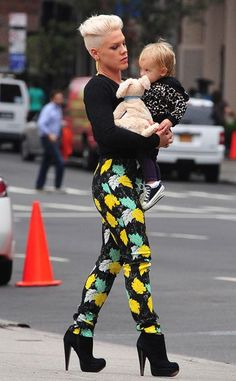 Pink with her baby girl, Willow Sage! #stylish #mama