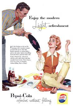 Pepsi-Cola Music Record Enjoy The Modern Pepsi - Mad Men Art: The Vintage Advertisement Art Collection 1950s Ads, Retro Ads, Vintage Ads, Vintage Posters, Vintage Food, Vintage Stuff, Old Advertisements, Pepsi Advertisement, Pepsi Cola