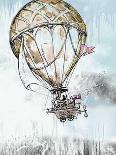 "Vintage illustration Fine art print 12"" x 16"" drawing mixed media watercolor artwork Old balloon. $35.00, via Etsy."