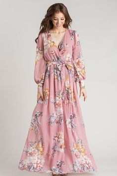 Kathleen Mauve Floral Maxi Dress - boutique clothing featuring fresh, feminine and affordable styles. Cute Maxi Dress, Cute Floral Dresses, Wrap Dress Floral, Boho Dress, Beautiful Dresses, Flowy Bridesmaid Dresses, Modest Dresses, Casual Dresses, Fashion Dresses