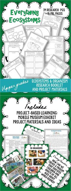 """RESEARCH BOOKLETS/PROJECT BASED LEARNING: I created this set of Ecosystems research/notebook pages because nothing I found when searching for """"animal research projects"""" really fit my needs for upper elementary students and our curriculum. These materials provide students with lots of opportunities to illustrate and create diagrams (as well as record factual information and details about habitats, ecosystems, and organisms)."""