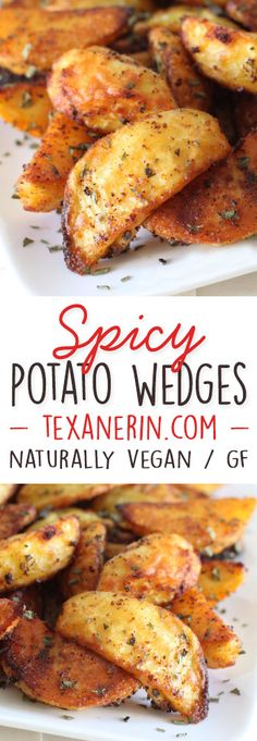 These spicy potato wedges have a great kick to them and are relatively healthy! {naturally vegan and gluten-free}