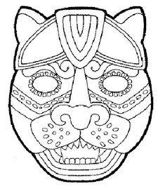 Imgs For > Mayan Symbols Jaguar Colouring Pages, Adult Coloring Pages, Mayan Mask, Aztec Mask, Arte Tribal, Mesoamerican, Masks Art, Thinking Day, African Masks