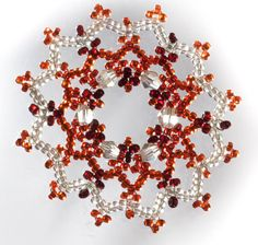 Luxurious Crystal & White Beaded Snowflake Christmas Decorations made from Glass Seed Beads and Crystal Beads