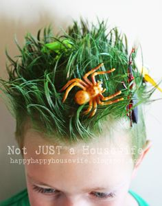 C and I love this idea - go as The Lawn for Halloween - green hair spray and plastic bugs in your hair!