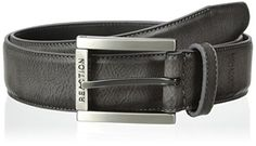 Kenneth Cole REACTION Mens Dress Casual Belt with Edge Stitch and Matte Black Buckle with Roller Grey 36 *** See this great product.