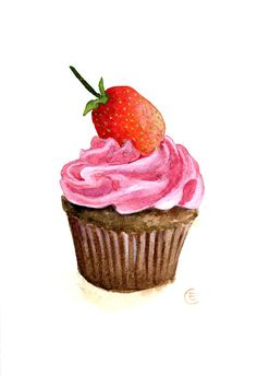 Cupcake 23 - Original Watercolor Painting by Fleur de Paris