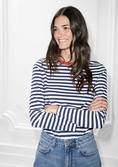 & Other Stories image 1 of Striped Sweater  in Navy