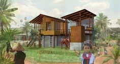 Home Plans One Room School | Original render of Courtyard House, one of the three winning designs