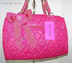 Betsey Johnson Purse Quilted Love Hearts Pink Handbag Satchel Bow Heart Charm