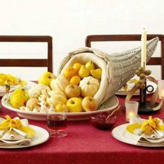 Thanksgiving Day Table centerpiece – fruits