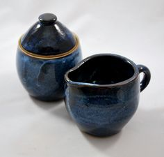 Cobalt Blue Sugar and Creamer Set, Wheel Thrown and Stoneware Pottery. Love the color of this I wouldn't mind an entire dinning set with this glaze.