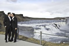 Newlyweds by the waterfall Gullfoss.  Pink Weddings by Pink Iceland.   Photo by Kristin Maria  #samesexmarriage #lesbianwedding #weddingplanner #weddingiceland #gayiceland #lgbtrights #onelove #equalmarriage # gaymarriage #gaywedding #pinkiceland