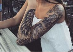 awesome sleeve i need sunflowers instead of the roses