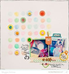 Maggie Holmes Scrapbook layout.  Love the watercolor circles.