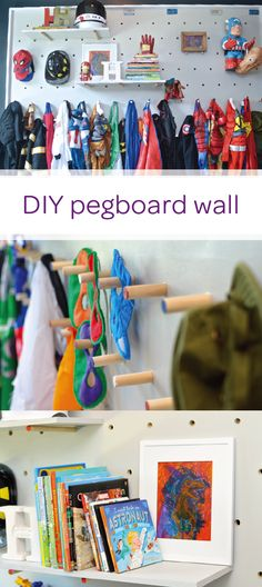 Add extra storage to your toddler's big kid bedroom with this DIY pegboard wall. This easy tutorial shows you how to build, install, and customize your pegboard wall to create shelving and wall hooks where your little one can show off all his superhero costumes. Want to know what's even cooler? You can move the wooden pegs around to let this playful accent wall grow with your child. What are you waiting for? Click here to learn more.