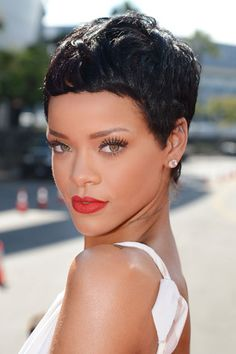 Rihanna's short hair makes her look stunning. You notice nothing but her amazing bone structure.