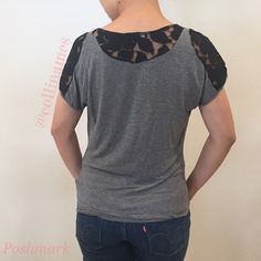 CLOSET CLEAROUT: Lace Cowl Neck Top Loose fit gray tee with black lace detail at shoulders and nape. Scoop cowl neck. •CN05081613•  Will take best offer! Bundle to save even more! Soprano Tops