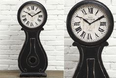 Wood Table Clock - Distressed Black - From Antiquefarmhouse.com - http://www.antiquefarmhouse.com/current-sale-events/turn-of-the-century/table-top-clock-black.html