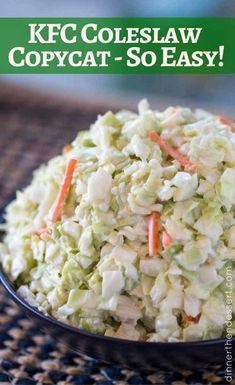 KFC Coleslaw (Copycat) - Dinner, then Dessert KFC Coleslaw in just a few minutes with easy ingredients. It tastes exactly the same! Best Coleslaw Recipe, Copycat Kentucky Fried Chicken Coleslaw Recipe, Kfc Cole Slaw Recipe, Kfc Coleslaw Recipe Without Buttermilk, Creamy Cole Slaw Recipe, Chick Fil A Coleslaw Recipe, Copycat Kfc Coleslaw, Creamy Coleslaw, Coleslaw