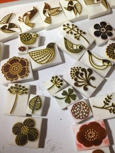 These look like good stamp carving inspiration:
