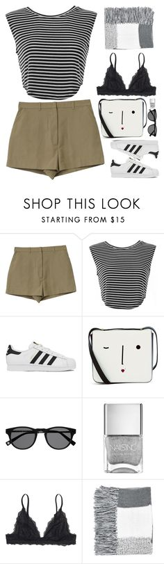 """Untitled #2710"" by wtf-towear ❤ liked on Polyvore featuring adidas, Lulu Guinness, Monki and Topshop"