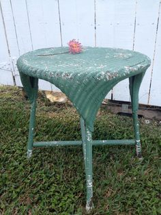 Vintage Furniture Shabby Chic Cottage Chic Wicker Table Green Chippy Antique  Wicker Table Via Etsy