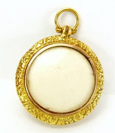 Victorian 9ct Gold Double Sided Pendant Photo LOCKET Pocket Watch Style