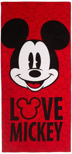 Disney MICKEY Mouse 100-Percent Cotton Beach Towel, Red
