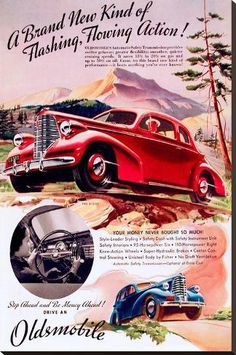 size: 44x29in Stretched Canvas Print: GM Oldsmobile - Flowing Action : Using advanced technology, we print the image directly onto canvas, stretch it onto support bars, and finish it with hand-painted edges and a protective coating. Vintage Advertisements, Vintage Ads, Car Advertising, Painting Edges, Retro Cars, Stretched Canvas Prints, Old Cars, Original Image, 1970s