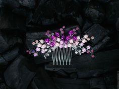 Свадебные украшения ручной работы. Ярмарка Мастеров - ручная работа. Купить Гребень свадебный фиолетовый  Украшение свадебное для прически. Handmade.