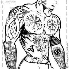 Image may contain: drawing Rune Viking, Viking Tattoo Sleeve, Viking Tattoo Symbol, Norse Tattoo, Viking Art, Viking Symbols, Viking Tattoo Design, Sleeve Tattoos, Star Tattoos