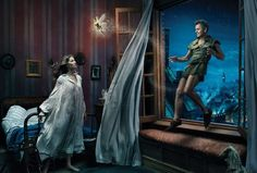 Annie Leibovitz photography - Gisele Bundchen as Wendy and Mikhail Baryshnikov as Peter Pan, entitled 'Where You Never Have to Grow Up' - Oh, and Tina Fey is Tinkerbell