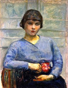 Girl in Blue, with a Rose / Pierre Bonnard - circa 1916