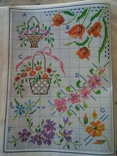 Small Cross Stitch, Cross Stitch Borders, Cross Stitch Flowers, Cross Stitching, Cross Stitch Patterns, Bargello, Flower Basket, Crochet Doilies, Hobbies And Crafts