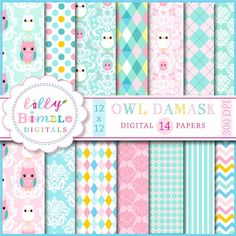 NEW Owl Damask digital papers scrapbooking cards by LillyBimble