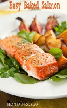 Here's a easy way to make delicious Baked Salmon! The dish gets a nice flavor boost from basil, garlic, lemon juice, and parsley. Easy Salmon Recipes, Fish Recipes, Seafood Recipes, Great Recipes, Dinner Recipes, Favorite Recipes, Healthy Recipes, Healthy Options, Salmon Recepies