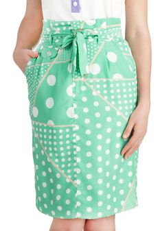 Ive Dot All Day Skirt - Mid-length, Mint, Tan / Cream, White, Polka Dots, Work, Pencil, Pockets, Belted, Daytime Party, Pastel